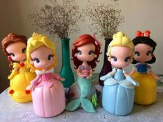 Polymer Clay Figures, Fimo Clay, Polymer Clay Projects, Polymer Clay Crafts, Disney Cake Toppers, Disney Cakes, Disney Princess Dolls, Princess Cakes, Clay Dolls