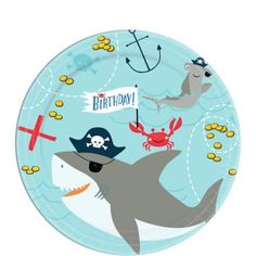 Pirate Dessert Plates / Pirate party theme / pirate plates/ pirate/ pirates/ pirate party/ pirate shark plates/ under the sea/ 1st Birthday Party Supplies, Shark Party Supplies, 1st Birthday Parties, 4th Birthday, Birthday Ideas, Birthday Flags, Pirate Birthday, Halloween Costumes For Kids, Pirates
