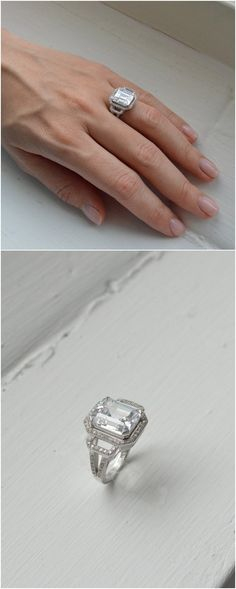 Emerald Cut Silver Engagement Ring