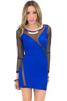 LANA MESH DETAIL MINI DRESS - Blue | Shop this at www.hauteandrebellious.com