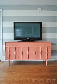 "Coral and Gold TV Console - Sherwin Williams ""Emotional"" The Best of home decor ideas in 2017."