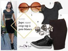Idée tenue - Jupe crayon noire, t-shirt noir à pois blancs, baskets basses, bagues bohémiennes - Oliviamode