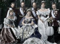 The Saxe-Coburg and Gotha family for the coronation of Tsar Nicholas II    Found here: https://www.facebook.com/pages/Belle-%C3%89poque-Europe/124762957488
