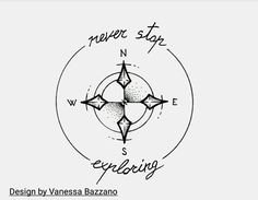 never stop exploring compass tattoo