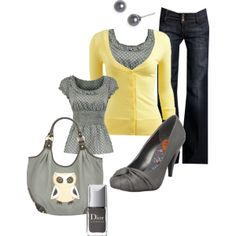 "Love Yellow and Gray together!   ""Owl Say"" by kaseyofthefields on Polyvore"