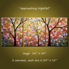 Extra Large parete arte pittura moderna contemporanea trittico alberi paesaggio stelle / / 24 x 54 / / si avvicina Nightfall ---------------------------------------------------------------- Questo pezzo è un ordine di Commissione, si prega di consentire circa 12 giorni completare