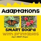 This Science SMARTboard unit consists of 33 slides and 10 paper attachments.  The unit is divided into three parts: Animals Adaptations, Plant Adap...