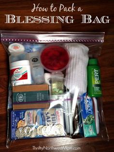 How to pack a blessing bag for those in need or to donate to a homeless shelter.