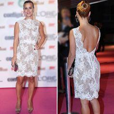 Mulheres moda carolina Dieckmann renda branca Vestido Renda premio contigo LQ4926