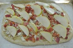 fresh focaccia with pears, bleu and bacon