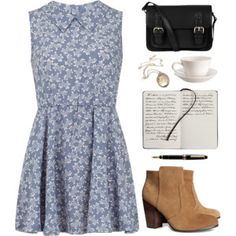 Little blue dress, booties and notebooks for lovely writings.