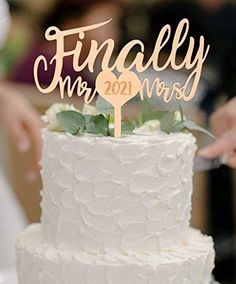 """This lovely WoodWedding Cake Topper is a Modern Wedding Cake Decoration 2Pcs of wooden signs. The design feature the phrase """"Finally Mr and Mrs."""" and made of high quality rustic wood material, 7.48*9.84*0.04inch size, which makes it perfect for most wedding cakes. A 2 pescs of modern wooden cake toppers that can be used at your wedding ceremony and Wedding Reception as part of your decorations. Country Wedding Cakes, Floral Wedding Cakes, Wedding Cake Rustic, White Wedding Cakes, Wedding Cake Decorations, Wedding Cake Toppers, Birthday Decorations, Wooden Cake Toppers, Wedding Cookies"""
