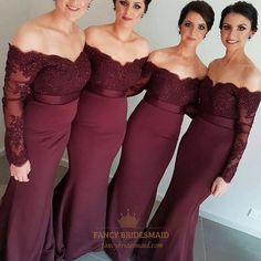FancyBridesmaid.com Offers High Quality Burgundy Off Shoulder Long Sleeve Lace Bodice Mermaid Bridesmaid Dress,Priced At Only USD $114.00 (Free Shipping)