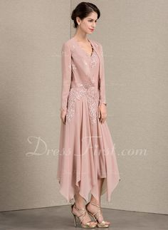 b448d9476c A-Line/Princess V-neck Ankle-Length Chiffon Mother of the Bride Dress With  Appliques Lace Sequins - DressFirst