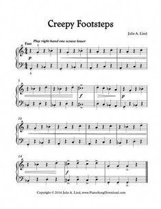 Creepy Footsteps, Free Level 2 printable Halloween Song for .-Creepy Footsteps, Free Level 2 printable Halloween Song for piano Creepy Footsteps, a fun Halloween piano solo for beginning piano lessons. Piano Songs, Piano Sheet Music, Music Sheets, Piano Lessons, Music Lessons, Piano Classes, Keyboard Lessons, Halloween Songs, Kalimba