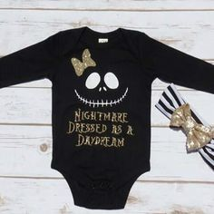 Nightmare Dressed as a Daydream Girls Halloween Sparkle Glitter Onesie, T shirt… Halloween Onesie, Baby First Halloween, Halloween Vinyl, Baby Shirts, Onesies, Black Tank Tops, My Baby Girl, Baby Photos, Girl Outfits