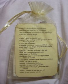 Ladies Retreat Goodie Bags   Small friendship bag was placed on each person's pillow