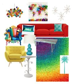 """""""#rainbowhome"""" by nicolebeckman-1 ❤ liked on Polyvore featuring interior, interiors, interior design, home, home decor, interior decorating, Loloi Rugs, Aviva Stanoff, Bungalow 5 and Dot & Bo"""