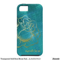 Transparent Gold Rose Bloom Teal Metallic Look iPhone SE/5/5S Case