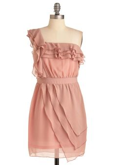 Rose colored ruffle dress. Simple & girly!