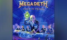 """57. Megadeth: """"Rust In Peace"""" (1990) Fiese Riffs, nihilistische Texte: Die Musik von David Mustaine ist von Bitterkeit und bösem Zynismus durchzogen. Auf diesem Werk zeigt der ehemalige Metallica-Gitarrist – erstmals unterstützt von dem Gitarrenvirtuosen Marty Friedman –, was er kann. Wütender Thrash-Metal, technisch außerordentlich versiert und harmonisch wie strukturell komplex: Take this, James Hetfield! Die Rache eines Verstoßenen."""