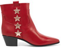 Saint Laurent - Star-appliquéd Leather Ankle Boots - Red