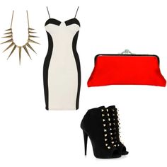 Black with a pop of color polyvore outfit