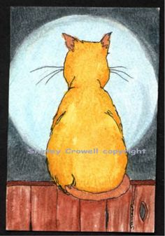 Blue Moon and Me Kitty Print from original WC by Silkartist