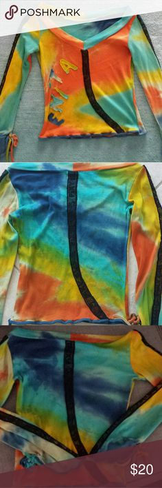 lticolored Bohemian Tie Die style long sleeve top. lticolored Bohemian Tie Die style long sleeve top. Made in Bulgaria. Super comfortable and soft on the skin. The sleeves are a bit flared. Fits well sizes 2-4. I wear size 4 and it fit me well. Tag size is Medium. 80% cotton 20% elastin. independent designer ftom Bulgaria  Tops Tees - Long Sleeve
