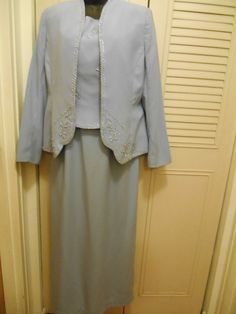 Landa Size 12 Dress Light Blue Mother of the Bride Formal Jacket Beaded Long #Dress