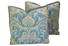 "Pair of luxurious custom-made Mariano Fortuny pillows. Pillow fronts are a beautiful blue and silvery gold cotton blend fabric from Fortuny called ""De. Blue Gold, Pink Blue, Blue And White, Gold Pillows, Throw Pillows, My Wallet, Pillow Fabric, French Country Decorating, Dream Decor"
