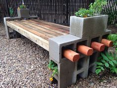 Level the ground at the place of the bench, arrange the cinder blocks and insert the timber. Description from minimalisti.com. I searched for this on bing.com/images