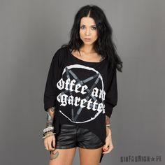 BLUZKA KILLSTAR - COFFEE DRAPE | Nowości Kobiety \ Koszulki \ Krótki rękaw Kobiety \ Koszulki \ Tuniki i Oversize'y | Sinfashion.pl