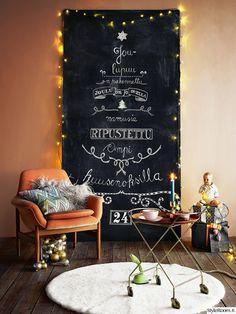 inspiroiva joulukoti,joulu,joulukuusi,joulukoristeet,liitutaulu,Tee itse - DIY,liitutauluseinä