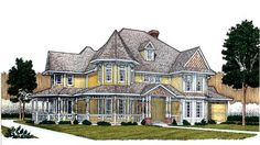Country Farmhouse Victorian House Plan 95692