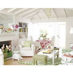 Pink & Green Living Room