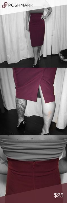 """Custom made high waisted skirt  This aubergine skirt is high waisted and fitted but easy to move in because of the slit, waist is 29"""" and hips 34"""" length 29""""  dance the night away or head into a professional work place Skirts Pencil"""