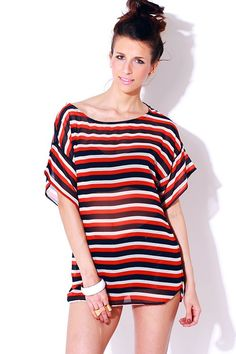 1015store.com-blue/red/white striped sheer chiffon tunic blouse-$15.00