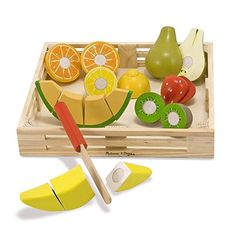 Melissa & Doug Cutting Fruit Set - The Original (Wooden Play Food Kids Toy, Wooden Crate, 17 Pieces, Great Gift for Girls and Boys - Best for and 5 Year Olds) Toddler Toys, Kids Toys, Baby Toys, Baby Play, Wooden Play Food, Wooden Playset, Play Food Set, Melissa & Doug