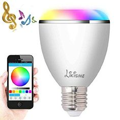 Smart Bluetooth BulbLikisme Smart Bluetooth Wireless Multicolored LED Light Bulb with Speaker for Apple iPhone iPad and Android Phoneswhite * Click for Special Deals  #WiFiDevices