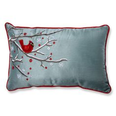You'll love the Holiday Cardinal on Snowy Branch Lumbar Pillow at Wayfair - Great Deals on all Bed & Bath  products with Free Shipping on most stuff, even the big stuff.