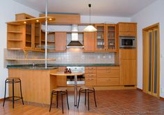 Modern Medium Wood Kitchen Cabinets (Kitchen-Design-Id) Ceramic Wood Tile Floor, Wood Tile Floors, Wood Kitchen Cabinets, Kitchen Cabinet Design, White Wood Bedroom Furniture, Breakfast Bar Kitchen, Breakfast Bars, White Wood Kitchens, Kitchen Island With Sink