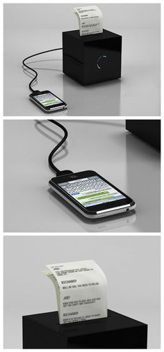 This is neat: Prints our your text conversation! Truffol.com | Black Box. #tech #gadgets #iPhone