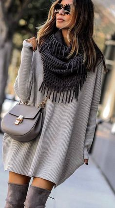 grey outfit obsession / knit scarf   sweater dress   bag   over knee boots