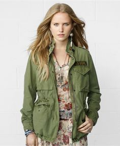 Denim & Supply by Ralph Lauren Flag Field Jacket Military Jacket Women, Military Field Jacket, Blazer Jackets For Women, Coats For Women, Army Look, Olive Jacket, Green Jacket, Denim And Supply, Outerwear Jackets
