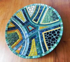 Modern Mosaic Art  Mediterranean Blue Mosaic Dish by NewArtsonline