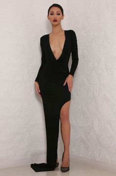 ABYSS BY ABBY DIONE GOWN NEW from The Goddess Collection Available in other colours Made from a premium stretch-jersey fabric Back zipper Model is wearing size XS an is 5'7 Ruched side detail One side high split Designed and Made in Australia Shop Now www.nakeddresses.com