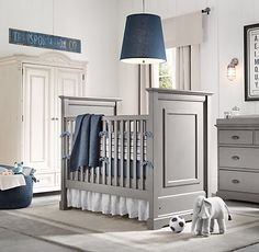 Boy Nursery~ I would have never thought to paint the furniture gray!  I love it! And the free standing crib is great, but it should be pink ;)