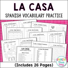 This is a 26 page Spanish vocabulary practice packet over El Cuerpo (Body Parts). This packet contains everything you need to help your students learn the body parts in Spanish. Answer keys are El Cuerpo (The Body) Vocabulary Vocabulary Word Crossw. Spelling Test, Spelling Practice, Vocabulary Practice, Spanish Vocabulary, Vocabulary Activities, Spanish Class, Spanish Lessons, Teaching Spanish, Spanish House