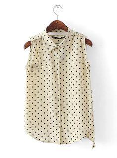 Dots Chiffon Vest Irregular Shirt Beige #Udobuy
